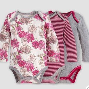 3pk Burt's Bees Baby 6-9m organic cotton bodysuits